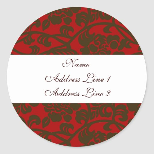 Red Brown Damask Address Labels Sticker