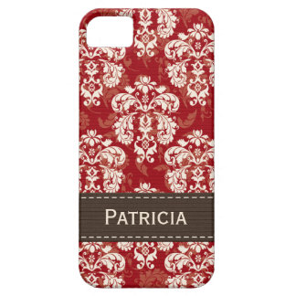 Red Brown Damask iPhone 5 Cases