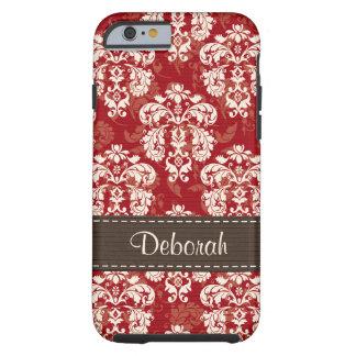 Red Brown Damask iPhone 6 Tough Tough iPhone 6 Case