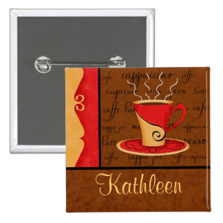 Red Brown Gold Espresso Coffee Art Custom Name 15 Cm Square Badge
