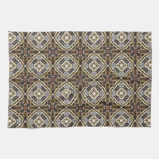 Red Brown Gray Ochre Hip Orient Bali Art Motif Tea Towel