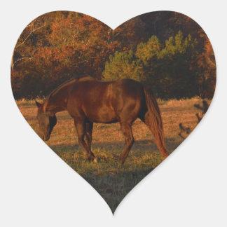 Red  Brown horse, autumn woods. Heart Sticker