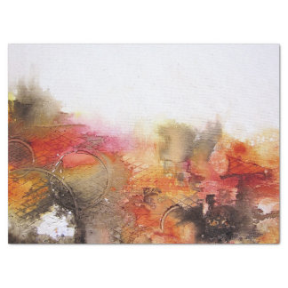 Red Brown Orange White Modern Abstract Art Tissue Paper