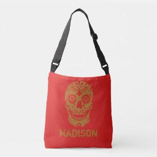 Red Brown Tan skull Tote bag Purse