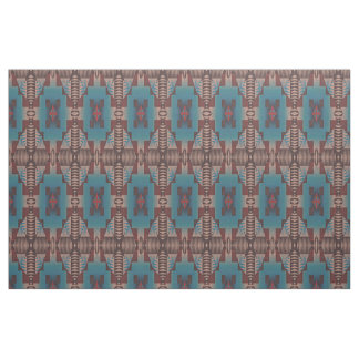 Red Brown Teal Blue Green Eclectic Ethnic Look Fabric