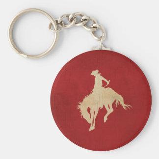 Red Brown Vintage Cowboy Key Ring