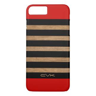 Red Brown Wood & Black Stripes Pattern iPhone 8 Plus/7 Plus Case
