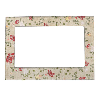 Red Brown Yellow Cottage Floral Magnetic Picture Frame