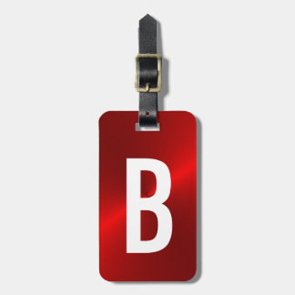 Red Brushed Metallic Monogram Initial Luggage Tag