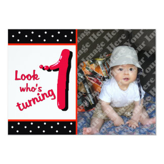 Red Bubble Letter First Birthday Celebration Card