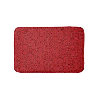 red bubbles bath mat