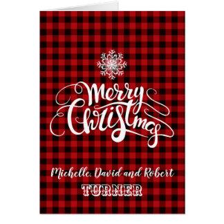 Red Buffalo Merry Christmas Snowflake Custom Card
