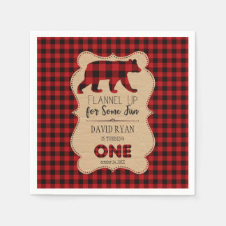 Red Buffalo Plaid Birthday ONE Custom Disposable Serviette