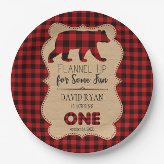 Red Buffalo Plaid Birthday ONE Custom Paper Plate