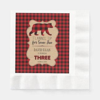 Red Buffalo Plaid Birthday THREE Custom Disposable Napkins