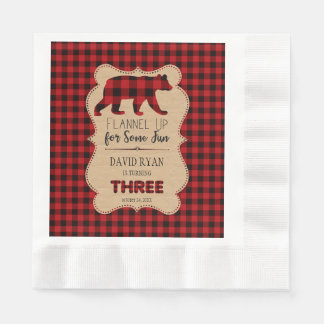 Red Buffalo Plaid Birthday THREE Custom Disposable Serviette
