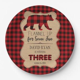 Red Buffalo Plaid Birthday THREE Custom Paper Plate
