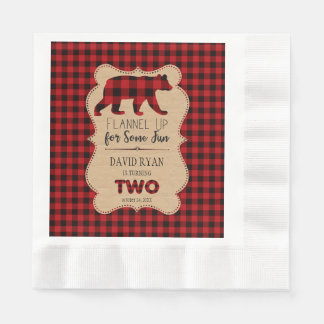 Red Buffalo Plaid Birthday TWO Custom Paper Napkin