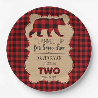 Red Buffalo Plaid Birthday TWO Custom Paper Plate