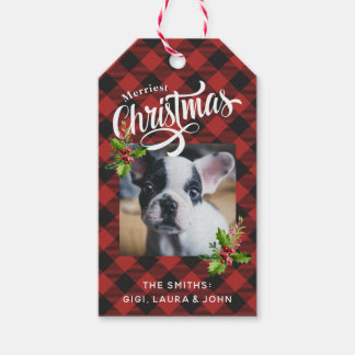 Red Buffalo Plaid Christmas Photo Gift Tags