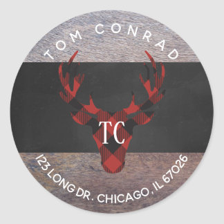 Red Buffalo Plaid Deer Head Monogram Address Label