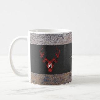 Red Buffalo Plaid Deer Head Monogram Coffee Mug