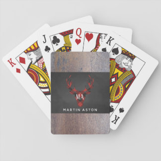 Red Buffalo Plaid Deer Head Monogram Playing Cards