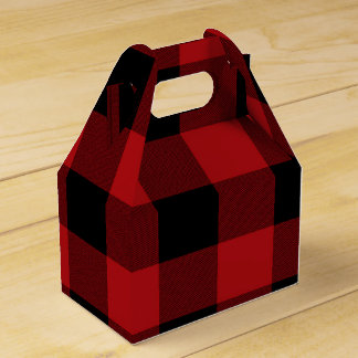 Red Buffalo Plaid Modern Rustic Country Party Favour Box