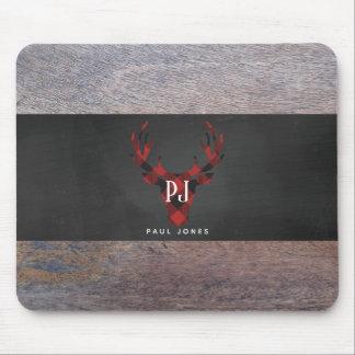 Red Buffalo Plaid Monogram Deer Head Mouse Pad