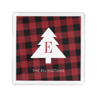 Red Buffalo Plaid Monogram Serving Tray