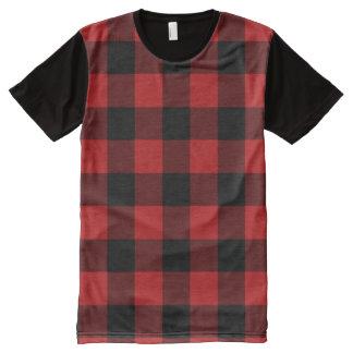 Red Buffalo Plaid Print Pattern All-Over Print T-Shirt
