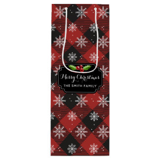 Red Buffalo Plaid With Snowflakes Wine Gift Bag