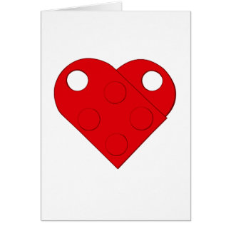 Red Building Block Heart Card (Blank)