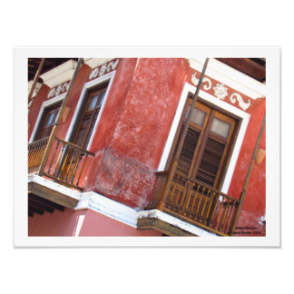 Red Building in Old San Juan Puerto Rico Photo Print