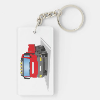 red building sites truck Double-Sided rectangular acrylic key ring