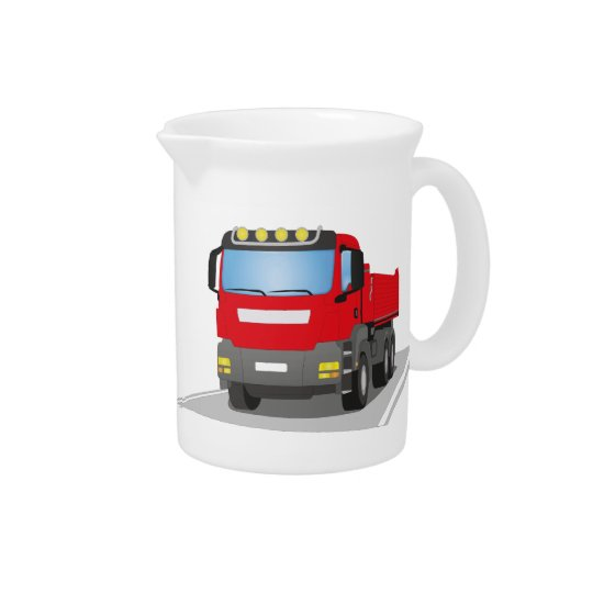 red building sites truck drink pitcher