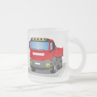 red building sites truck frosted glass coffee mug