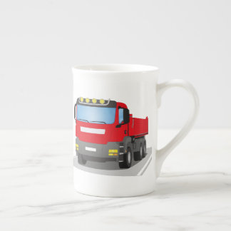 red building sites truck tea cup