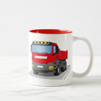red building sites truck Two-Tone coffee mug