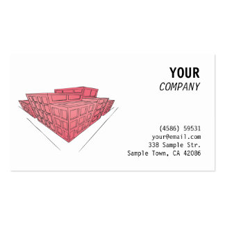 Red buildings in perspective business card template