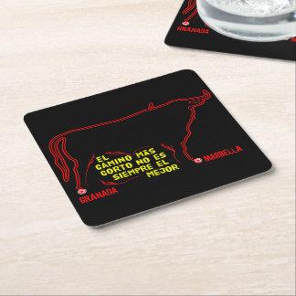 Red bull outline Granada Marbella black ground Square Paper Coaster