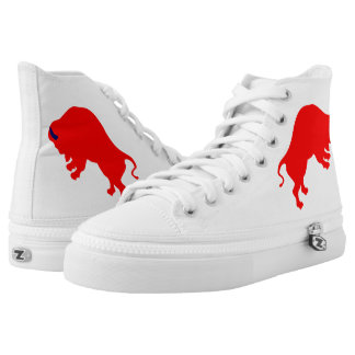 Red Bull Zipz High Top Shoes,White Printed Shoes