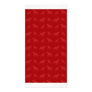 Red bulldog pattern customized photo card