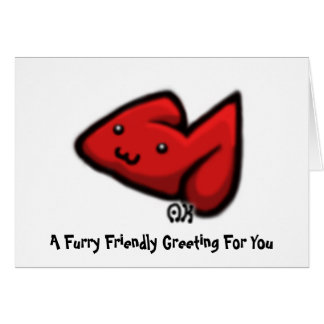 Red Bunneh, A Furry Friendly Greeting For You Greeting Card