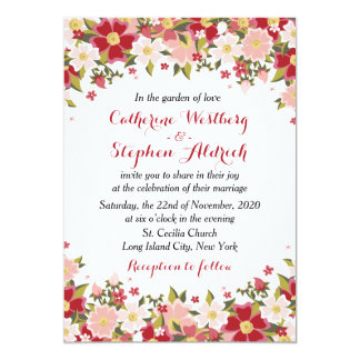 Red Burgundy And Pink Watercolor Floral Wedding 13 Cm X 18 Cm Invitation Card