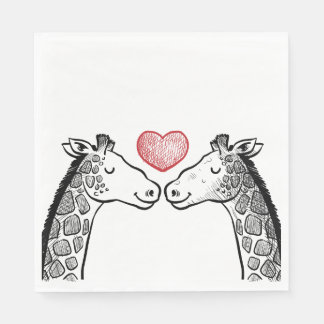 Red Burgundy Black & White Giraffe Love Wedding Paper Serviettes