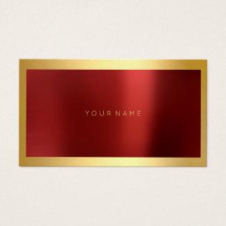 Red Burgundy Gold Framed Metallic Minimal Lux Business Card