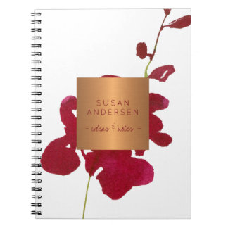 Red burgundy orchid elegant copper metallic label notebooks