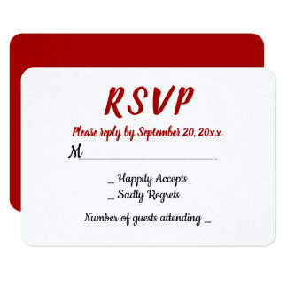 Red Burgundy RSVP WEdding Party Fall Country Card
