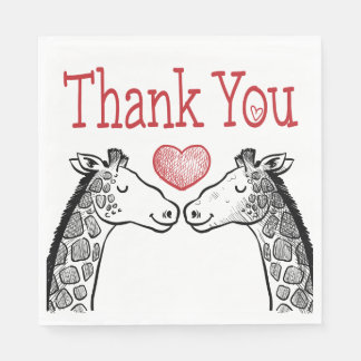 Red Burgundy Thank You Giraffe Love Wedding Disposable Serviette